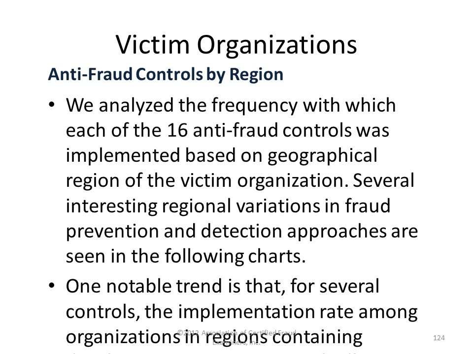 Victim Organizations Anti-Fraud Controls by Region We analyzed the frequency with which each of the 16 anti-fraud controls was implemented based on ge