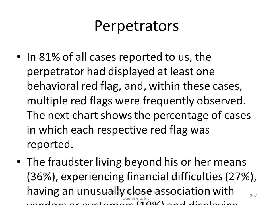 Perpetrators In 81% of all cases reported to us, the perpetrator had displayed at least one behavioral red flag, and, within these cases, multiple red