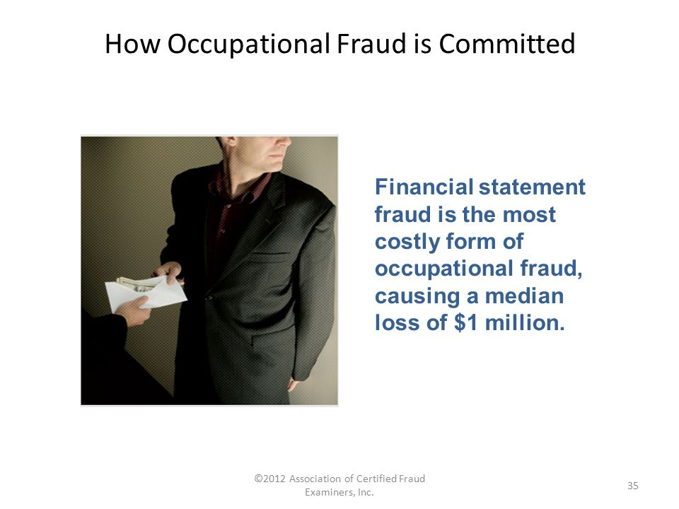 ©2012 Association of Certified Fraud Examiners, Inc. 35 Financial statement fraud is the most costly form of occupational fraud, causing a median loss