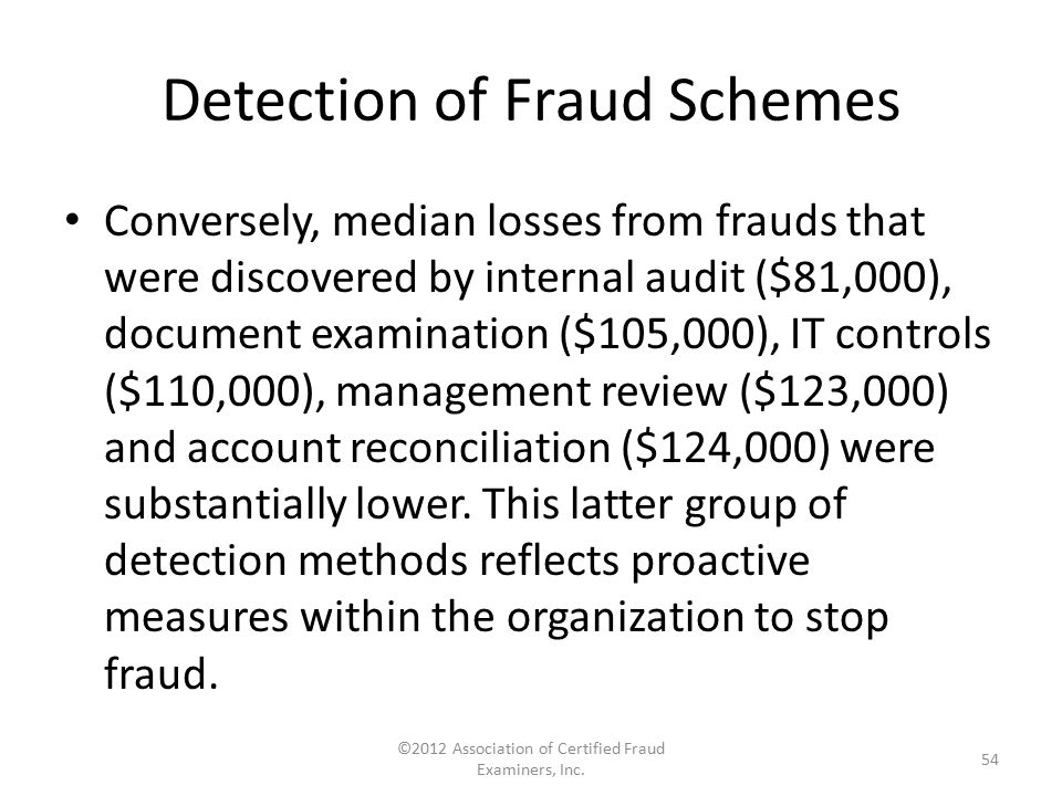 Detection of Fraud Schemes Conversely, median losses from frauds that were discovered by internal audit ($81,000), document examination ($105,000), IT