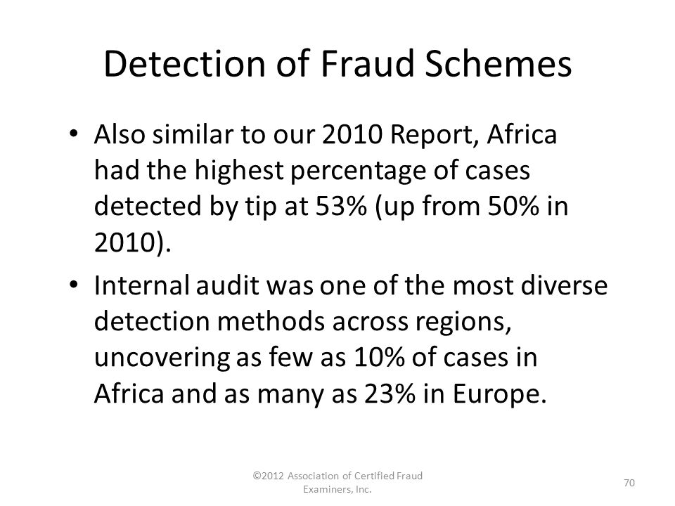 Detection of Fraud Schemes Also similar to our 2010 Report, Africa had the highest percentage of cases detected by tip at 53% (up from 50% in 2010). I