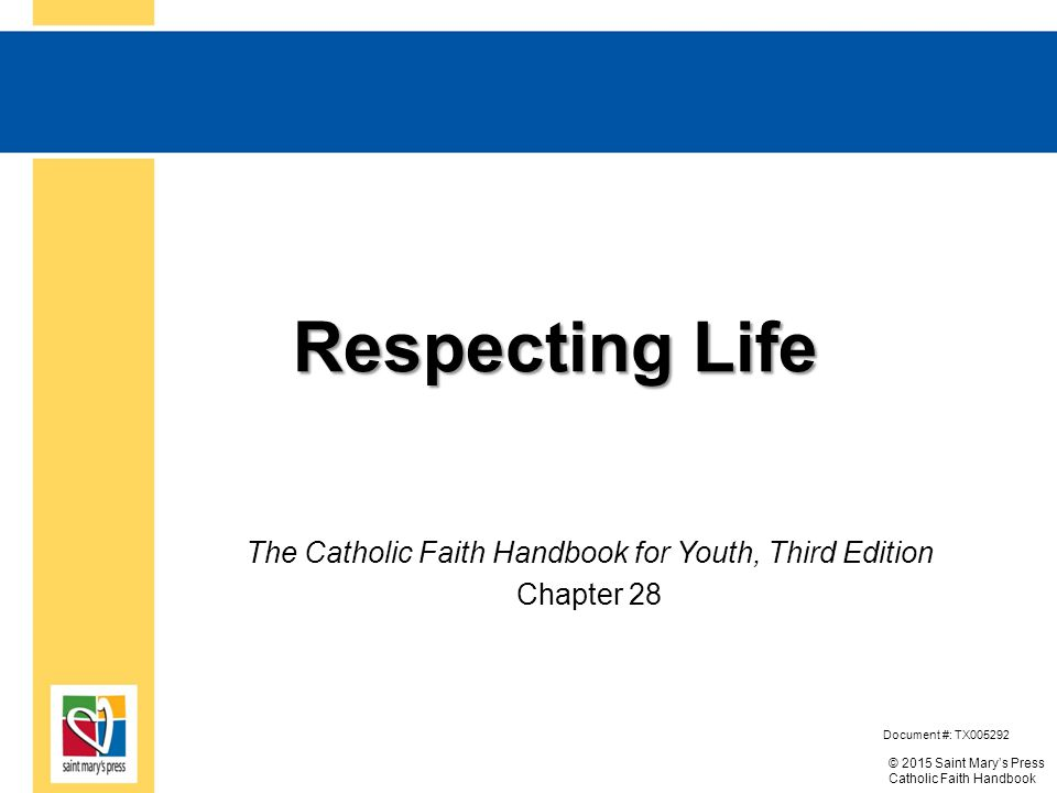 © 2015 Saint Mary's Press Catholic Faith Handbook Respecting Life Respecting Life The Catholic Faith Handbook for Youth, Respecting Life Edition Document #: TX005292 Chapter 28 The Catholic Faith Handbook for Youth, Third Edition Chapter 28