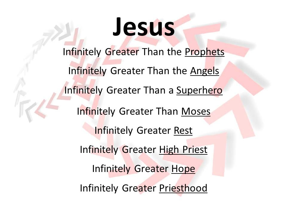 Infinitely Greater Than the Old Covenant Infinitely Greater Worship Infinitely Greater Motivation Infinitely Greater Adventure Infinitely Greater Object of Our Faith Jesus