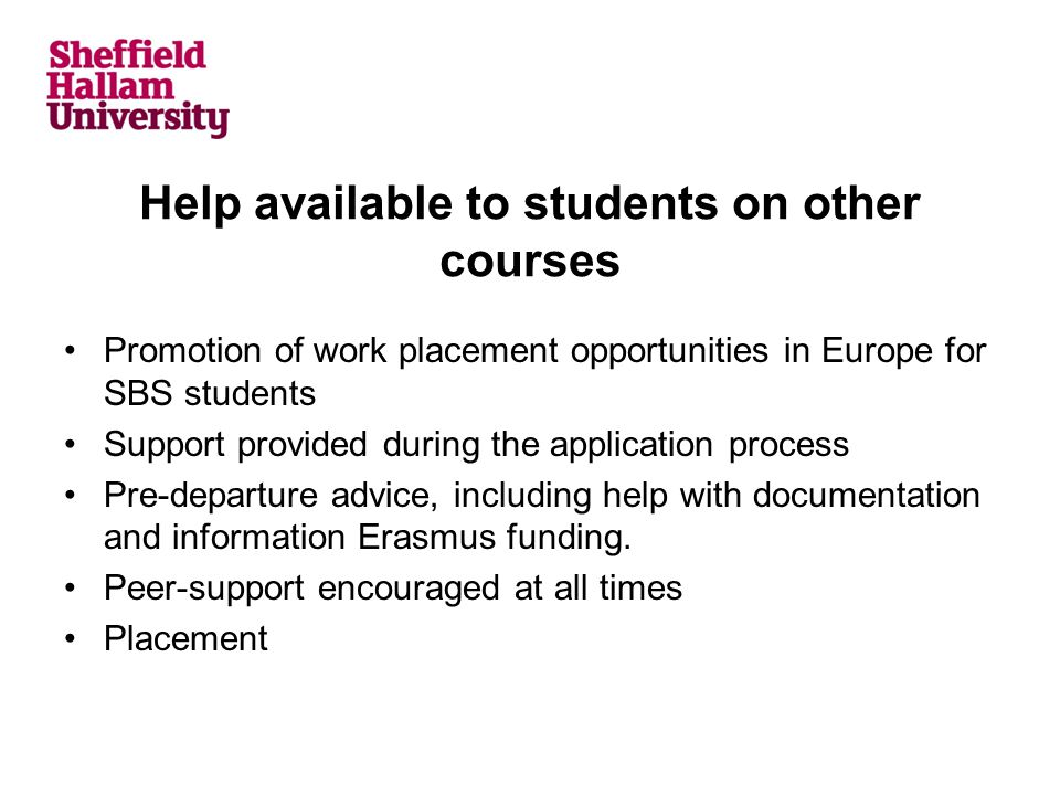 Help available to students on other courses Promotion of work placement opportunities in Europe for SBS students Support provided during the applicati