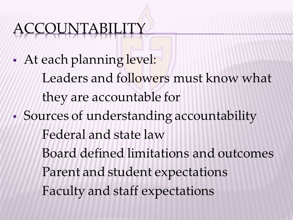  At each planning level: Leaders and followers must know what they are accountable for  Sources of understanding accountability Federal and state law Board defined limitations and outcomes Parent and student expectations Faculty and staff expectations