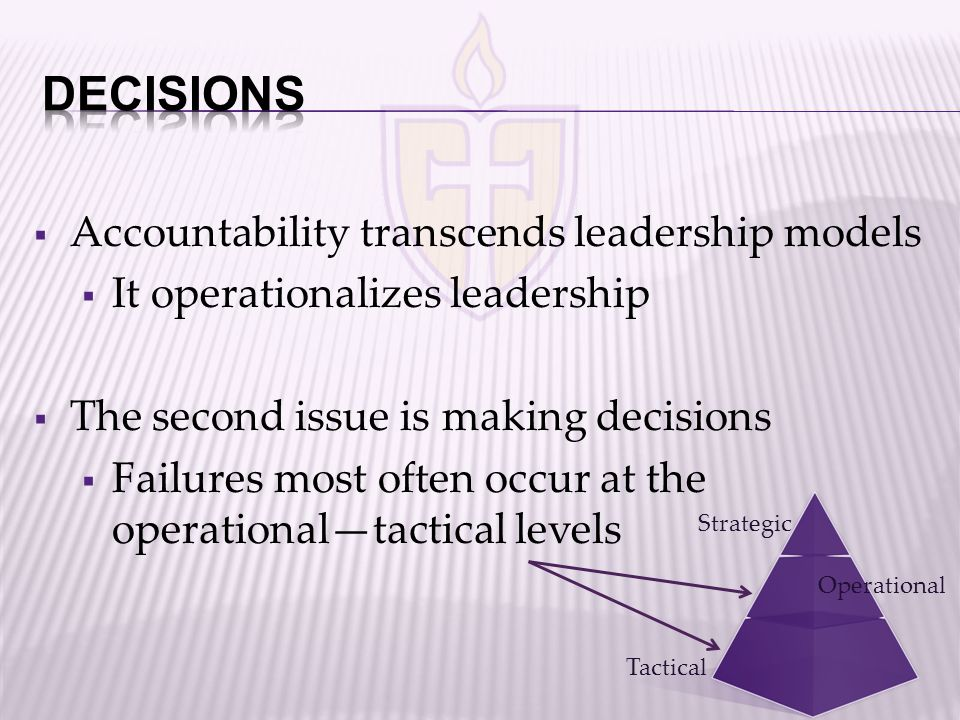  Accountability transcends leadership models  It operationalizes leadership  The second issue is making decisions  Failures most often occur at the operational—tactical levels Tactical Strategic Operational
