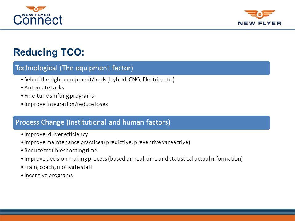 Connect Reducing TCO: Technological (The equipment factor) Select the right equipment/tools (Hybrid, CNG, Electric, etc.) Automate tasks Fine-tune shifting programs Improve integration/reduce loses Process Change (Institutional and human factors) Improve driver efficiency Improve maintenance practices (predictive, preventive vs reactive) Reduce troubleshooting time Improve decision making process (based on real-time and statistical actual information) Train, coach, motivate staff Incentive programs