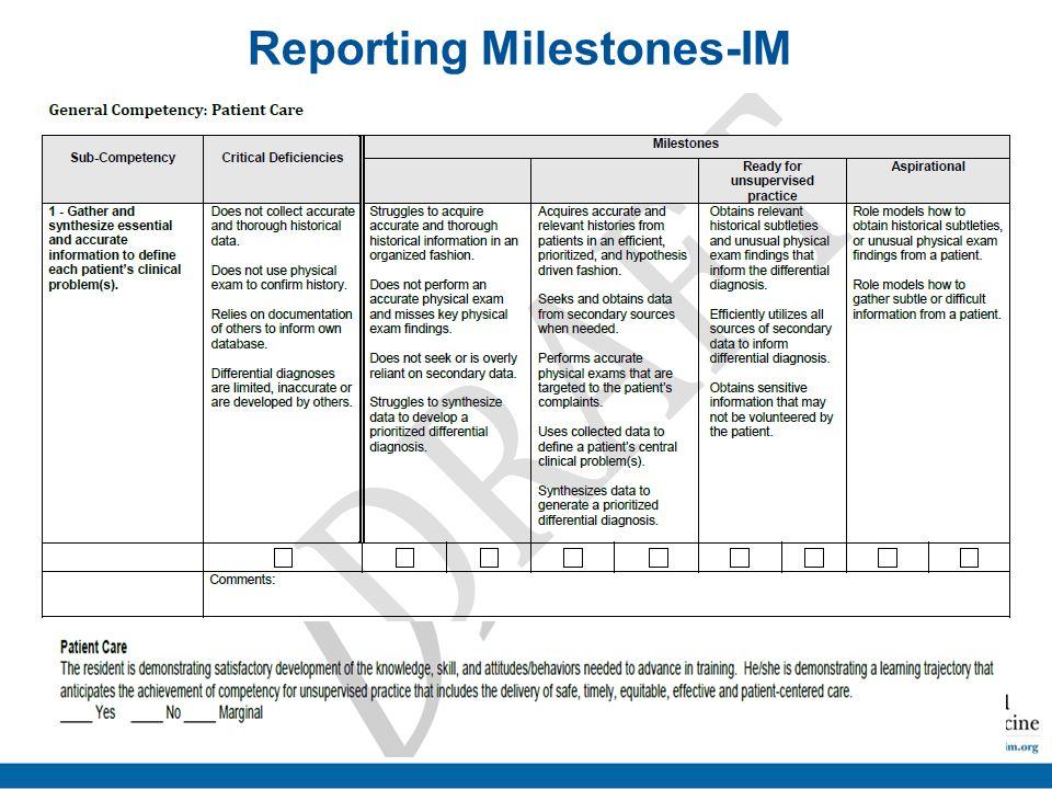 Reporting Milestones-IM