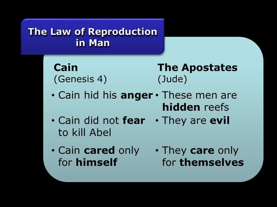 Cain (Genesis 4) The Apostates (Jude) Cain hid his anger These men are hidden reefs Cain did not fear to kill Abel They are evil Cain cared only for himself They care only for themselves