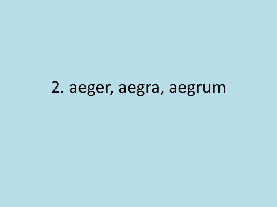2. aeger, aegra, aegrum