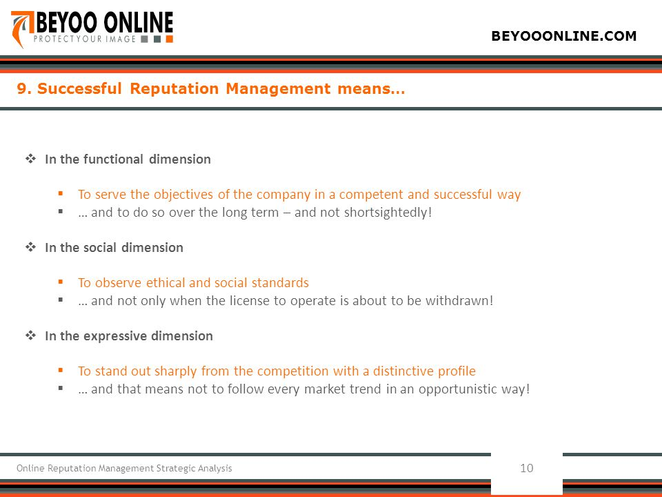 BEYOOONLINE.COM 10 Online Reputation Management Strategic Analysis 9. Successful Reputation Management means…  In the functional dimension  To serve