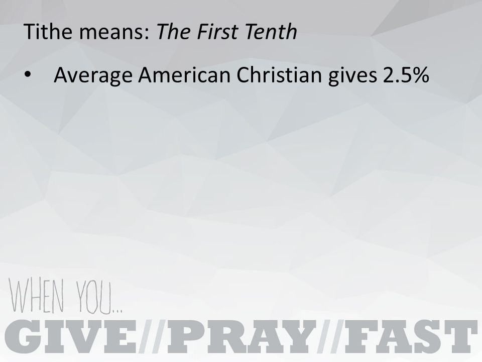 Average American Christian gives 2.5%