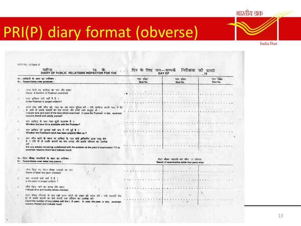 PRI(P) diary format (obverse) 13