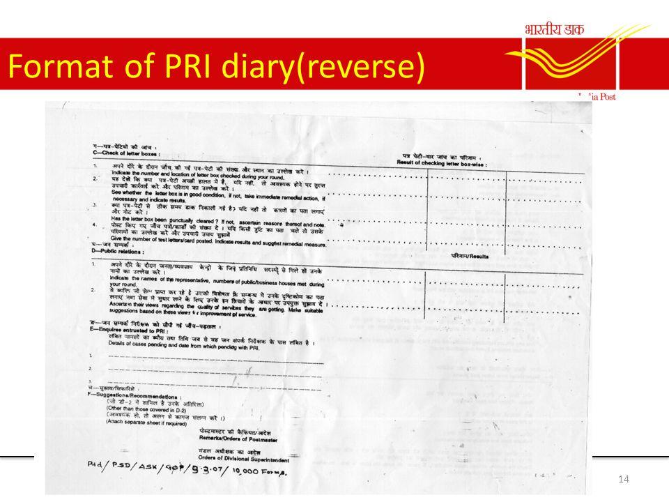 Format of PRI diary(reverse) 14