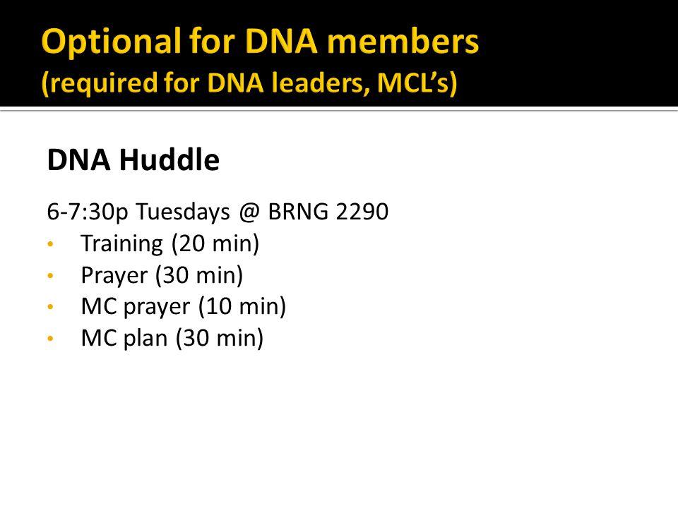 DNA Huddle 6-7:30p Tuesdays @ BRNG 2290 Training (20 min) Prayer (30 min) MC prayer (10 min) MC plan (30 min)