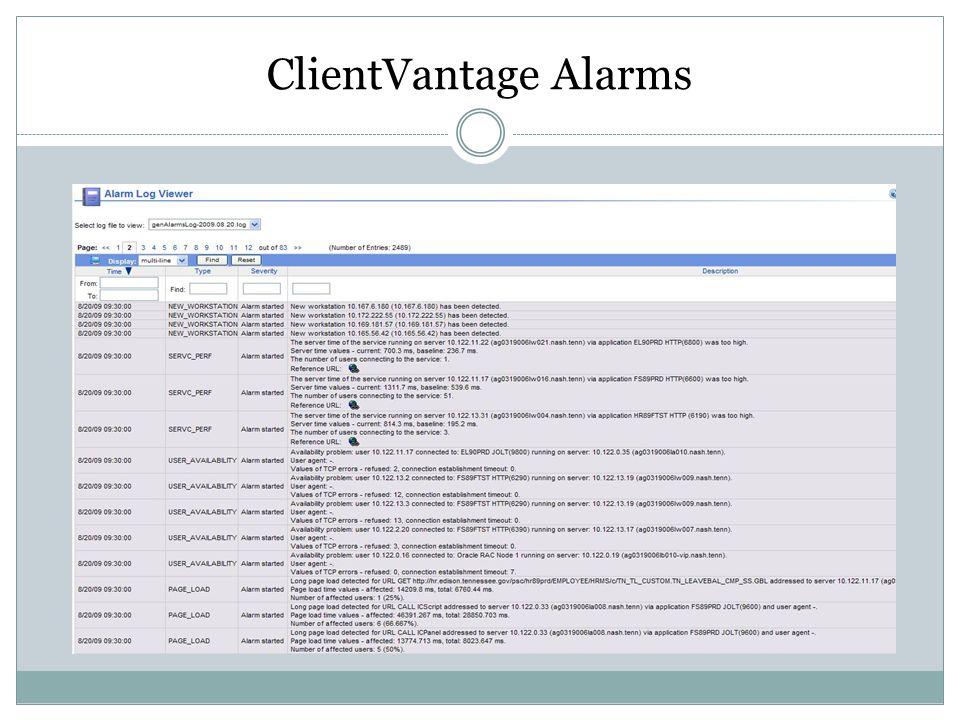 ClientVantage Alarms