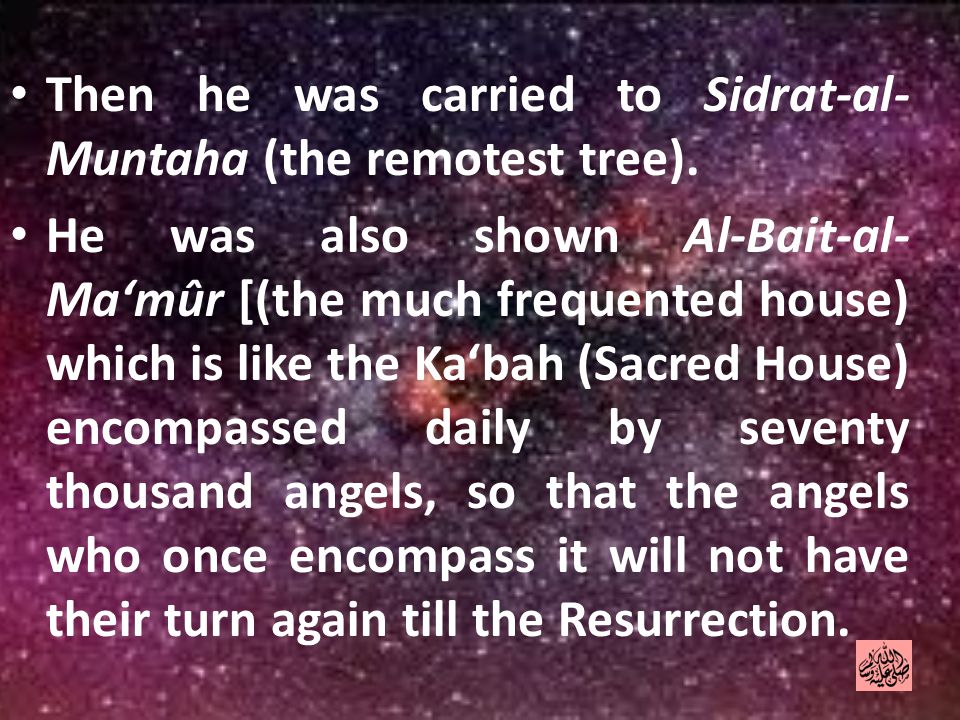 Then he was carried to Sidrat-al- Muntaha (the remotest tree).