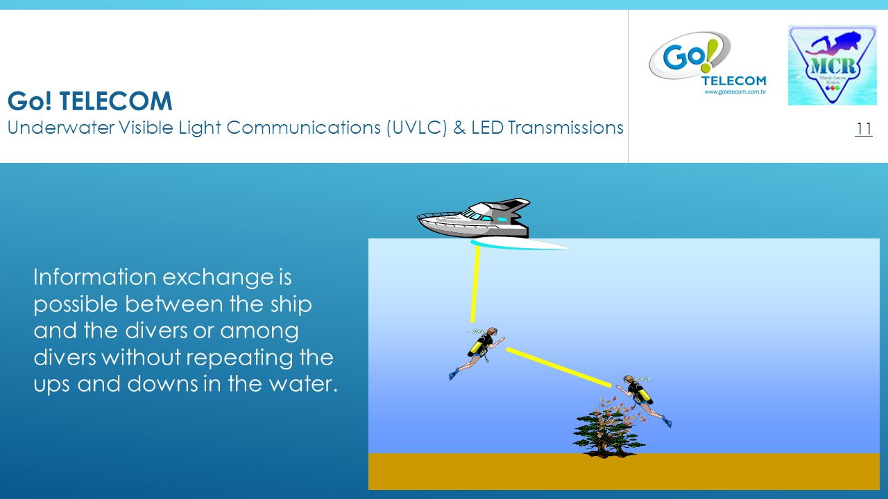 Go! TELECOM Underwater Visible Light Communications (UVLC) & LED Transmissions 11 Information exchange is possible between the ship and the divers or
