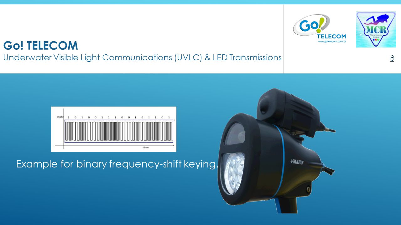 Go! TELECOM Underwater Visible Light Communications (UVLC) & LED Transmissions 8 An Underwater speech device utilizing the visible light of LED Exampl