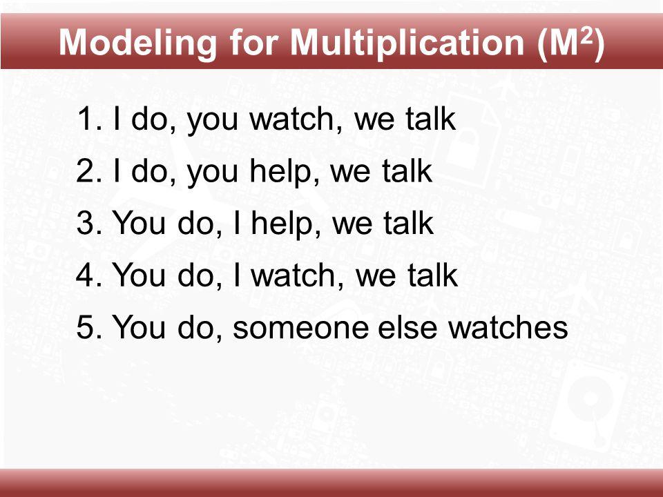 1. I do, you watch, we talk 2. I do, you help, we talk 3.
