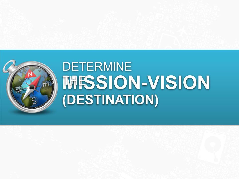 MISSION-VISION (DESTINATION) MISSION-VISION (DESTINATION) DETERMINE THE