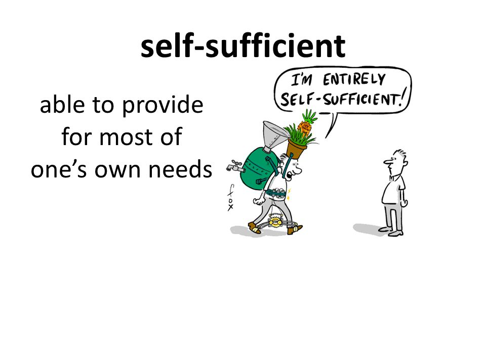 self-sufficient able to provide for most of one's own needs