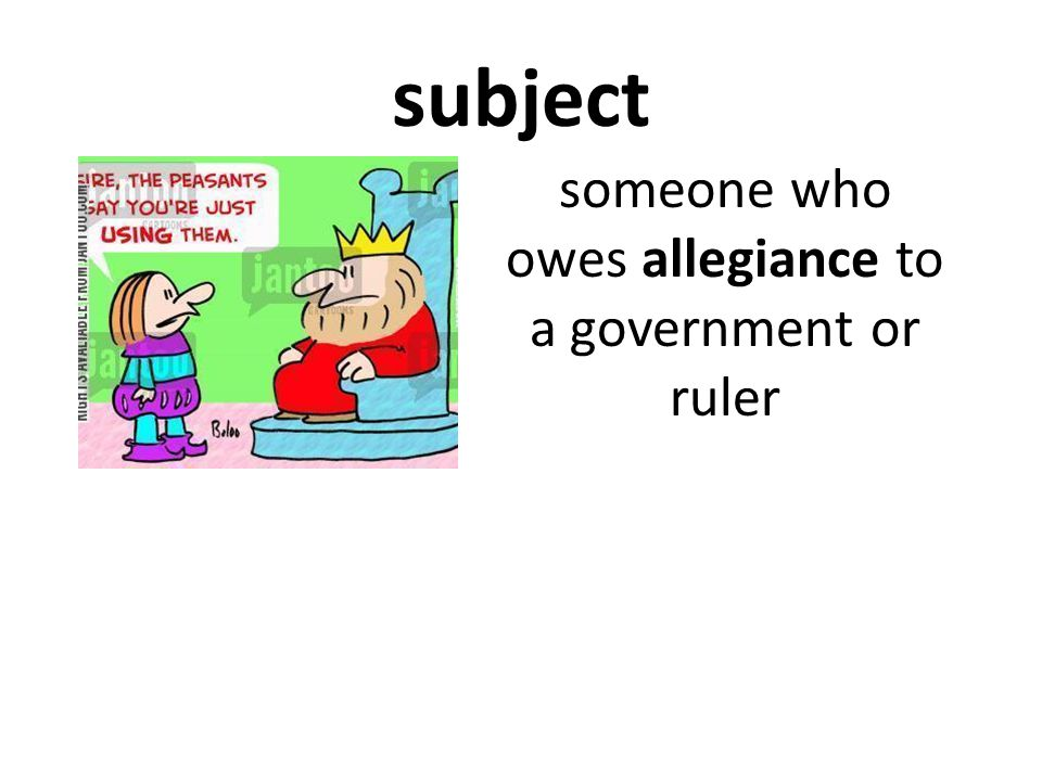 subject someone who owes allegiance to a government or ruler