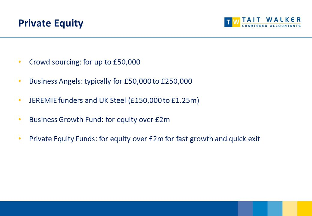 Private Equity Crowd sourcing: for up to £50,000 Business Angels: typically for £50,000 to £250,000 JEREMIE funders and UK Steel (£150,000 to £1.25m) Business Growth Fund: for equity over £2m Private Equity Funds: for equity over £2m for fast growth and quick exit