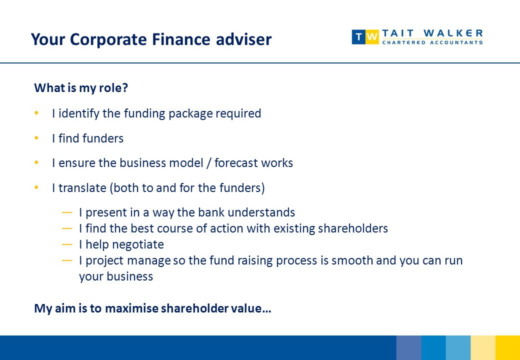 Your Corporate Finance adviser What is my role.