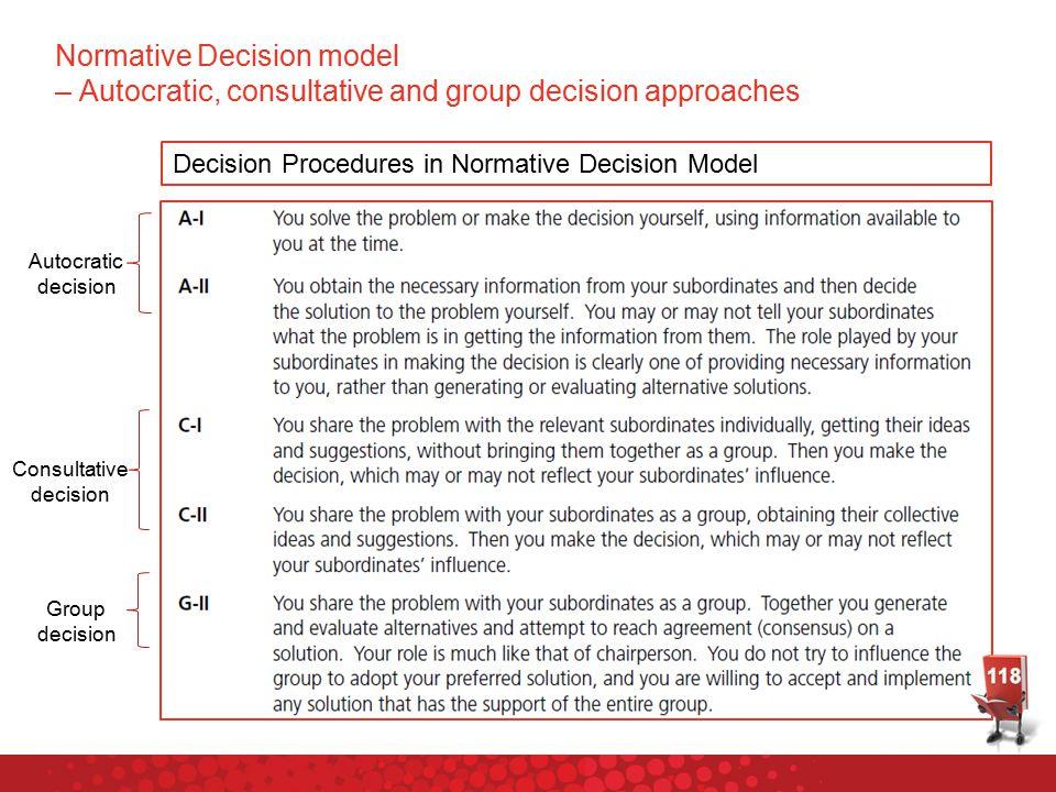 Decision Procedures in Normative Decision Model Autocratic decision Consultative decision Group decision Normative Decision model – Autocratic, consultative and group decision approaches