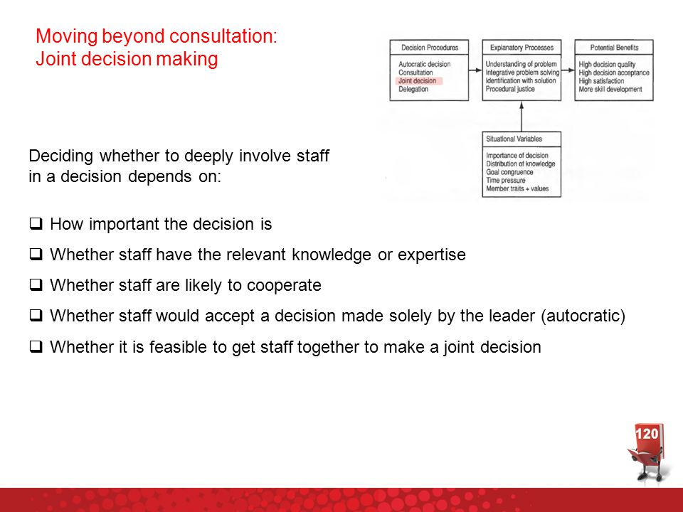 Deciding whether to deeply involve staff in a decision depends on:  How important the decision is  Whether staff have the relevant knowledge or expe