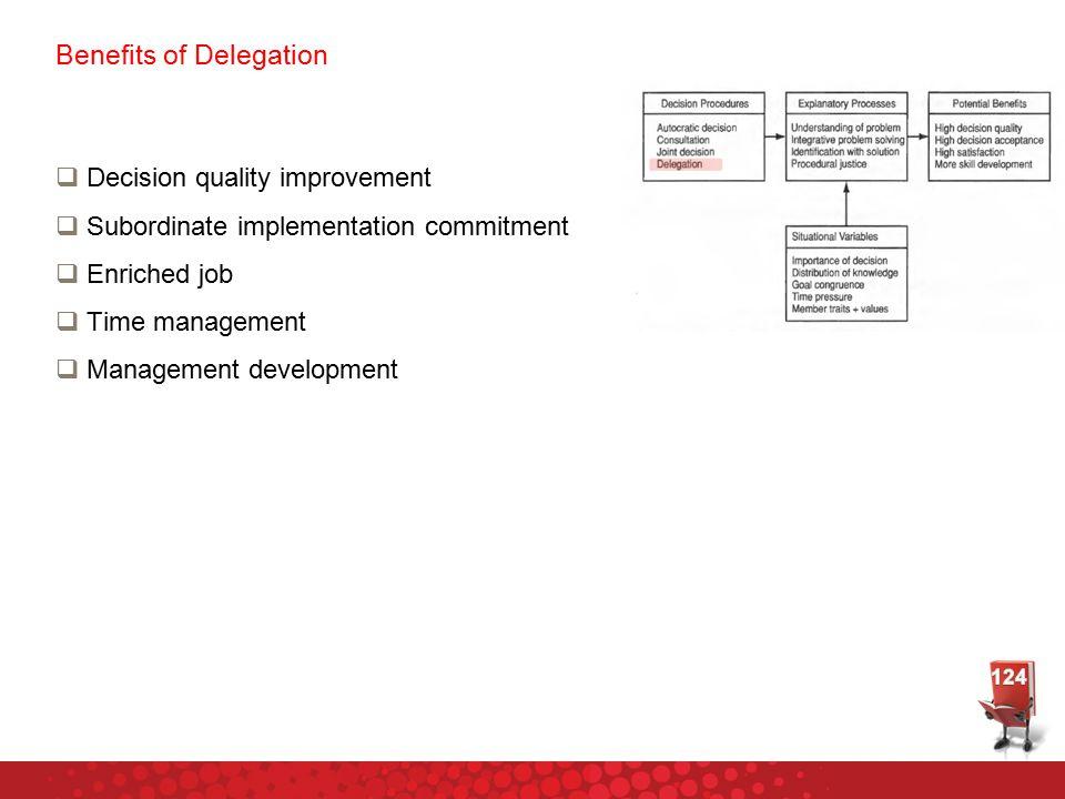 Benefits of Delegation  Decision quality improvement  Subordinate implementation commitment  Enriched job  Time management  Management development