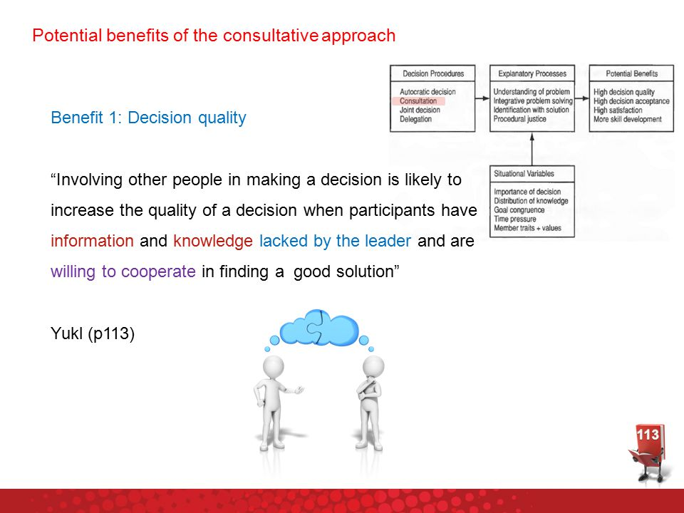 Potential benefits of the consultative approach Benefit 1: Decision quality Involving other people in making a decision is likely to increase the quality of a decision when participants have information and knowledge lacked by the leader and are willing to cooperate in finding a good solution Yukl (p113)