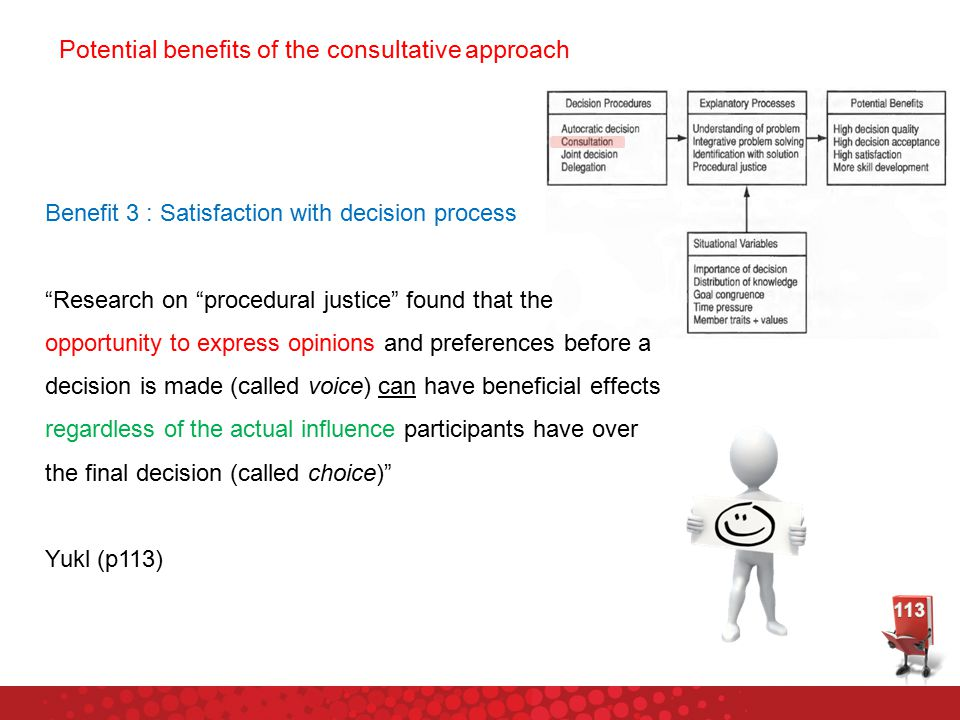 Potential benefits of the consultative approach Benefit 3 : Satisfaction with decision process Research on procedural justice found that the opportunity to express opinions and preferences before a decision is made (called voice) can have beneficial effects regardless of the actual influence participants have over the final decision (called choice) Yukl (p113)