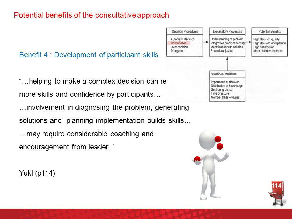 Potential benefits of the consultative approach Benefit 4 : Development of participant skills …helping to make a complex decision can result in more skills and confidence by participants….
