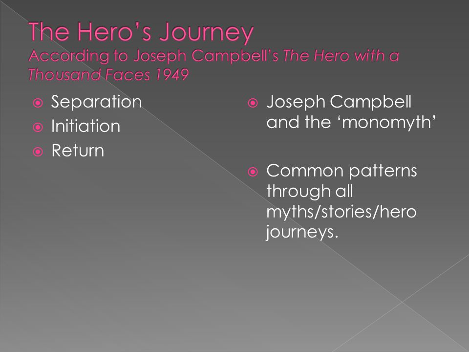  Separation  Initiation  Return  Joseph Campbell and the 'monomyth'  Common patterns through all myths/stories/hero journeys.