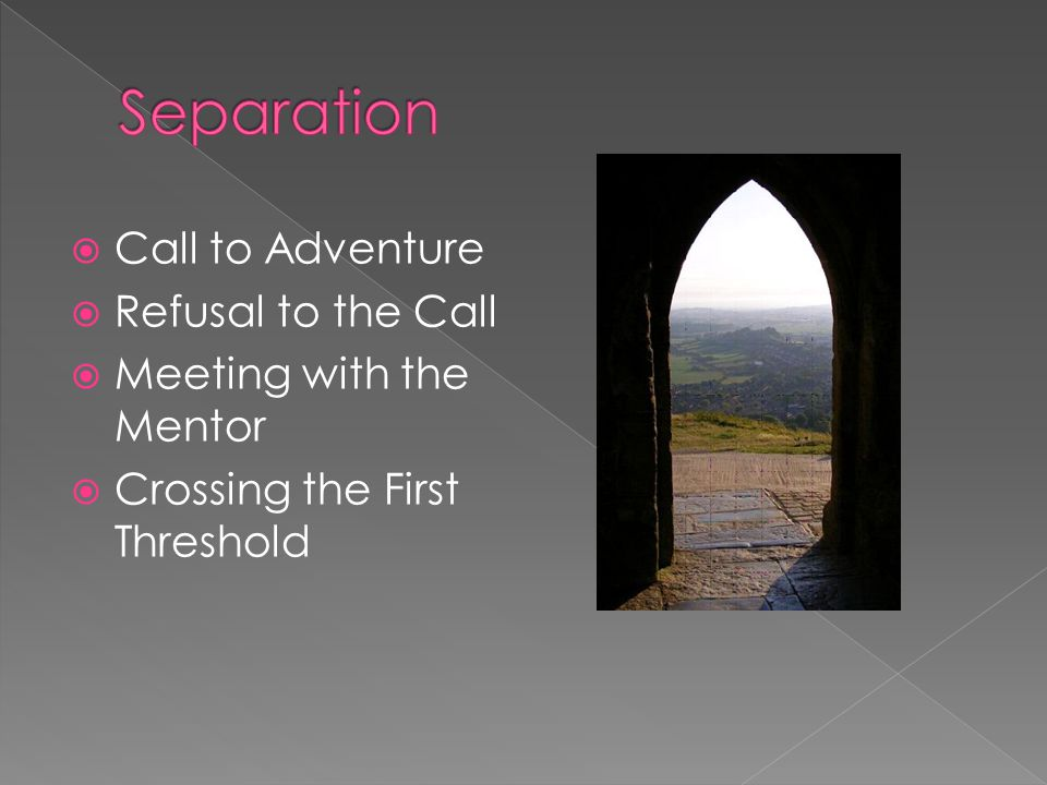  Call to Adventure  Refusal to the Call  Meeting with the Mentor  Crossing the First Threshold
