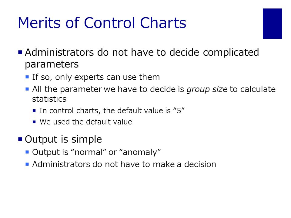 Merits of Control Charts  Administrators do not have to decide complicated parameters  If so, only experts can use them  All the parameter we have to decide is group size to calculate statistics  In control charts, the default value is 5  We used the default value  Output is simple  Output is normal or anomaly  Administrators do not have to make a decision
