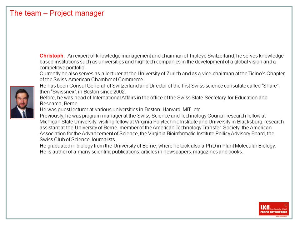 The team – Project manager Christoph.