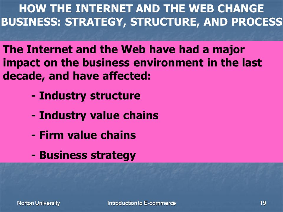 Norton UniversityIntroduction to E-commerce19 HOW THE INTERNET AND THE WEB CHANGE BUSINESS: STRATEGY, STRUCTURE, AND PROCESS The Internet and the Web