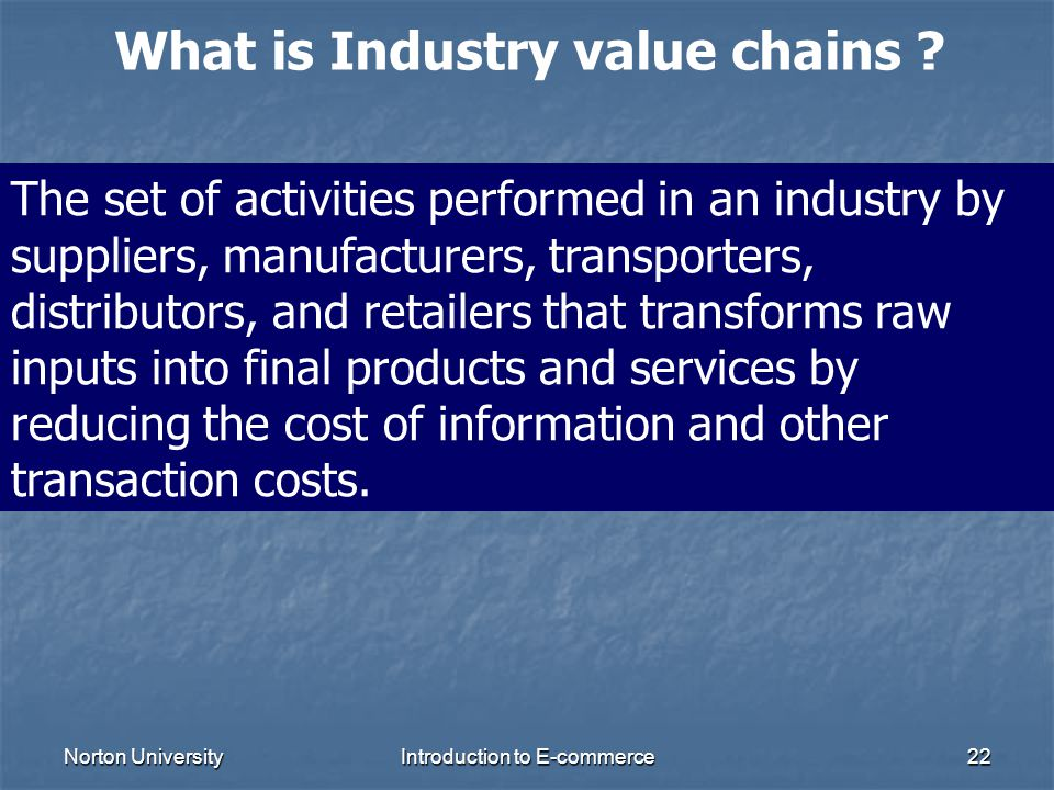 Norton UniversityIntroduction to E-commerce22 What is Industry value chains ? The set of activities performed in an industry by suppliers, manufacture