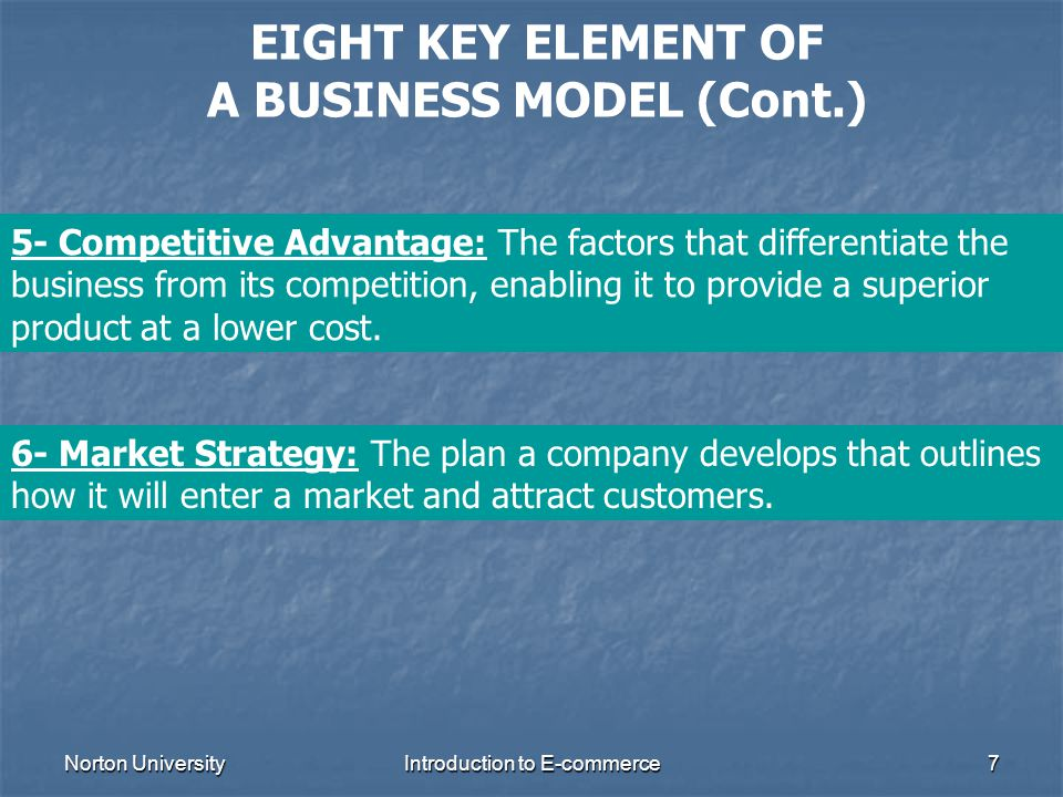 Norton UniversityIntroduction to E-commerce7 EIGHT KEY ELEMENT OF A BUSINESS MODEL (Cont.) 5- Competitive Advantage: The factors that differentiate th