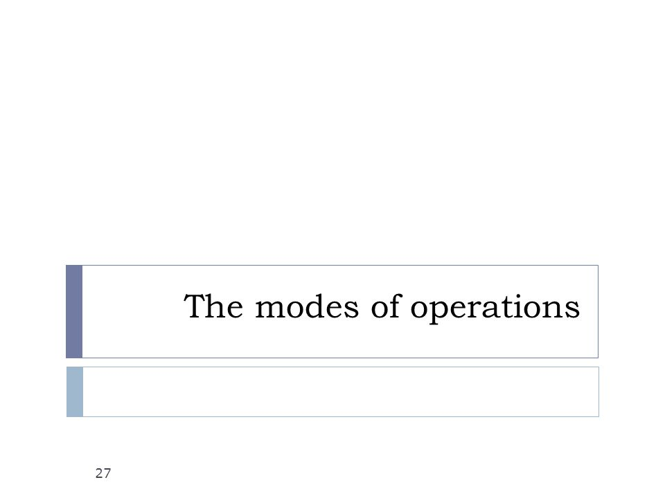The modes of operations 27