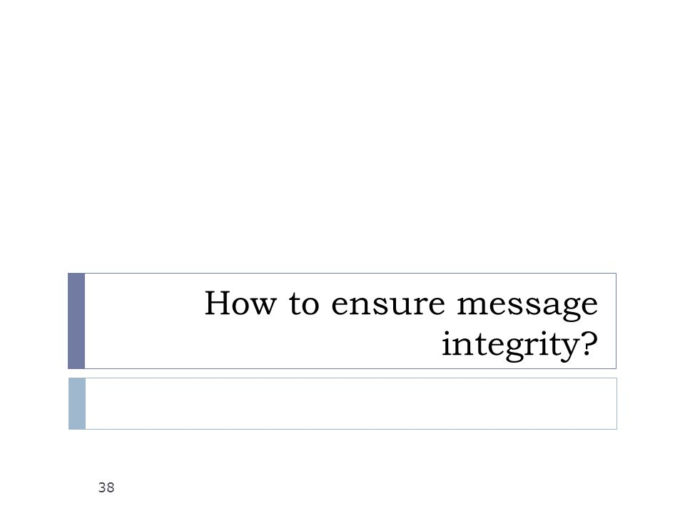 How to ensure message integrity 38