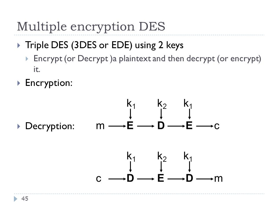 Multiple encryption DES 45  Triple DES (3DES or EDE) using 2 keys  Encrypt (or Decrypt )a plaintext and then decrypt (or encrypt) it.