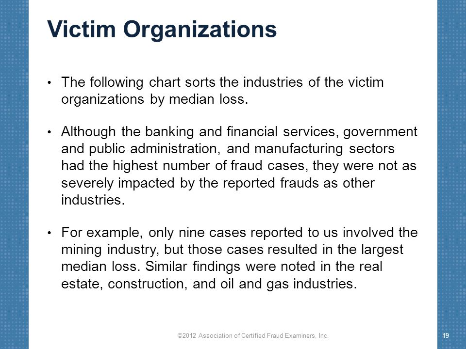 Victim Organizations The following chart sorts the industries of the victim organizations by median loss.