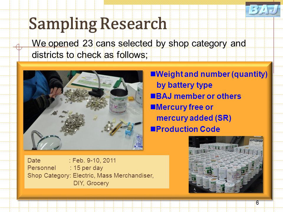Sampling Research 6 We opened 23 cans selected by shop category and districts to check as follows; Weight and number (quantity) by battery type BAJ member or others Mercury free or mercury added (SR) Production Code Date : Feb.
