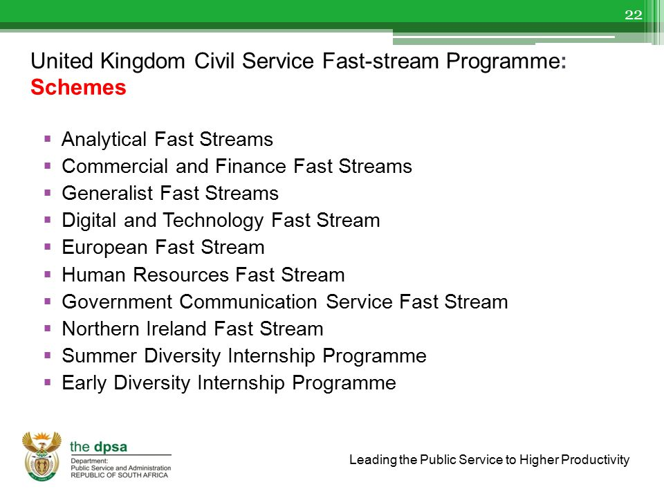 Leading the Public Service to Higher Productivity United Kingdom Civil Service Fast-stream Programme: Schemes  Analytical Fast Streams  Commercial a