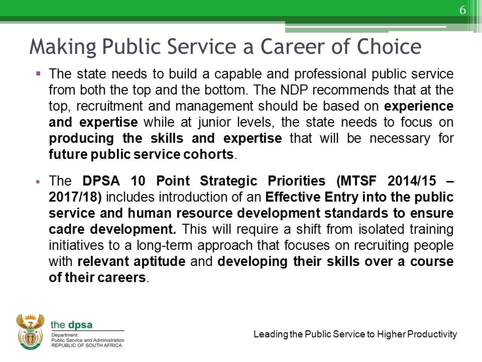Leading the Public Service to Higher Productivity Making Public Service a Career of Choice  The state needs to build a capable and professional publi