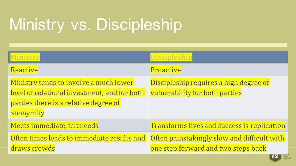 Ministry vs. Discipleship MinistryDiscipleship ReactiveProactive Ministry tends to involve a much lower level of relational investment, and for both p